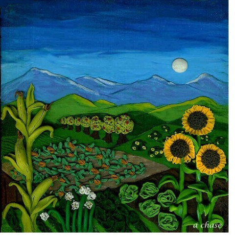 Angee Chase sunset farm painting