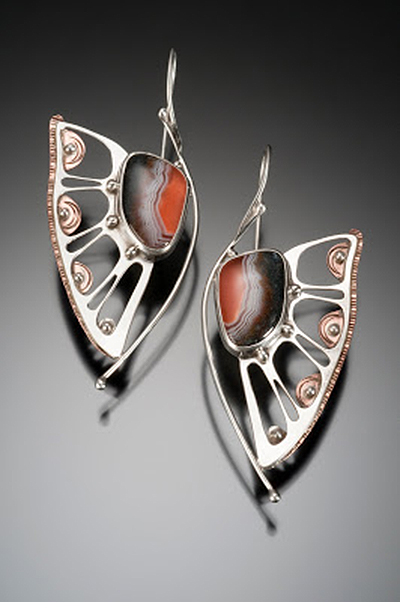 Large Agate Wing Earrings, crafted with silver and copper...SOLD