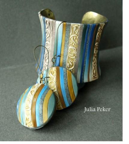 Julia Peker stripe bracelet earrings